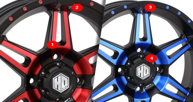 STI-HD7 Radiant Wheels Choose Blue Red or Orange 14x7